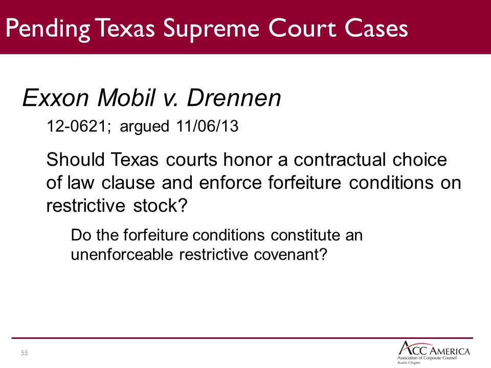 55 Pending Texas Supreme Court Cases Exxon Mobil v.