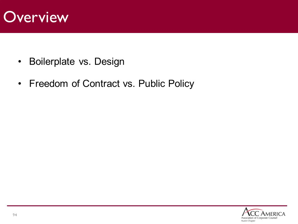 94 Boilerplate vs. Design Freedom of Contract vs. Public Policy Overview