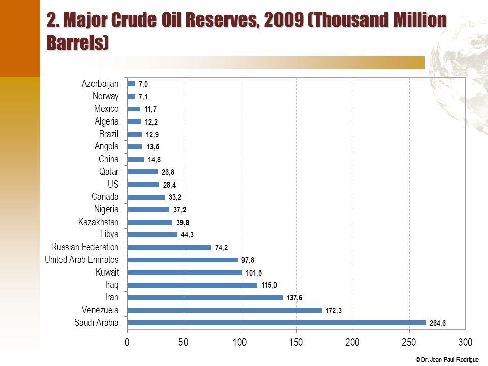 © Dr. Jean-Paul Rodrigue 2. Major Crude Oil Reserves, 2009 (Thousand Million Barrels)