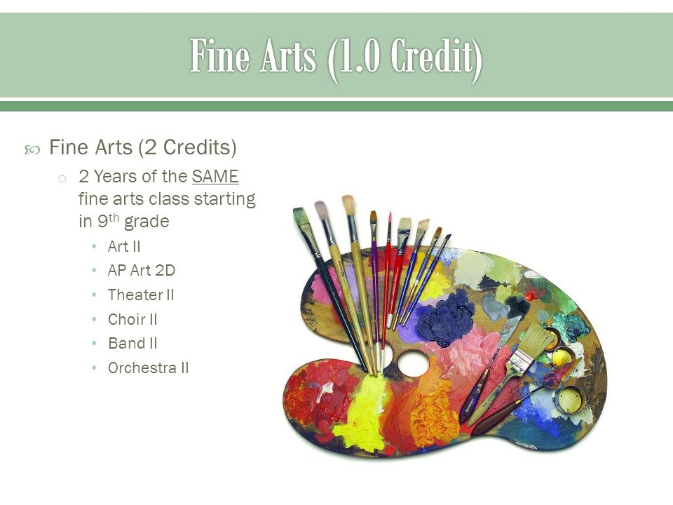  Fine Arts (2 Credits) o 2 Years of the SAME fine arts class starting in 9 th grade Art II AP Art 2D Theater II Choir II Band II Orchestra II