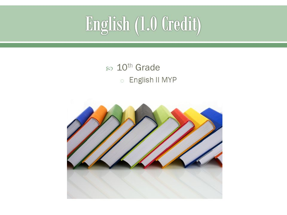  10 th Grade o English II MYP