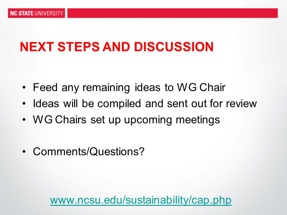 NEXT STEPS AND DISCUSSION Feed any remaining ideas to WG Chair Ideas will be compiled and sent out for review WG Chairs set up upcoming meetings Comments/Questions.