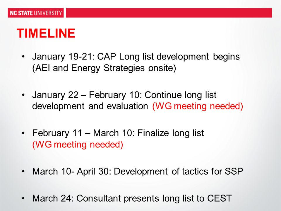 TIMELINE January 19-21: CAP Long list development begins (AEI and Energy Strategies onsite) January 22 – February 10: Continue long list development and evaluation (WG meeting needed) February 11 – March 10: Finalize long list (WG meeting needed) March 10- April 30: Development of tactics for SSP March 24: Consultant presents long list to CEST