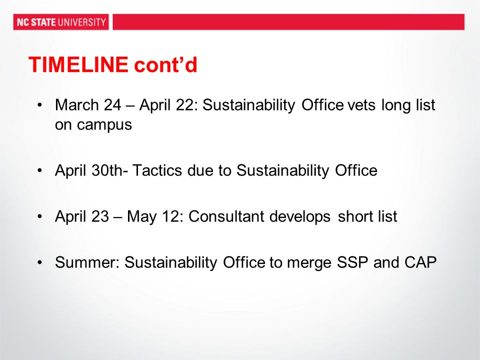 TIMELINE cont'd March 24 – April 22: Sustainability Office vets long list on campus April 30th- Tactics due to Sustainability Office April 23 – May 12: Consultant develops short list Summer: Sustainability Office to merge SSP and CAP