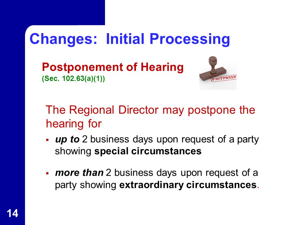 Changes: Initial Processing Postponement of Hearing (Sec.