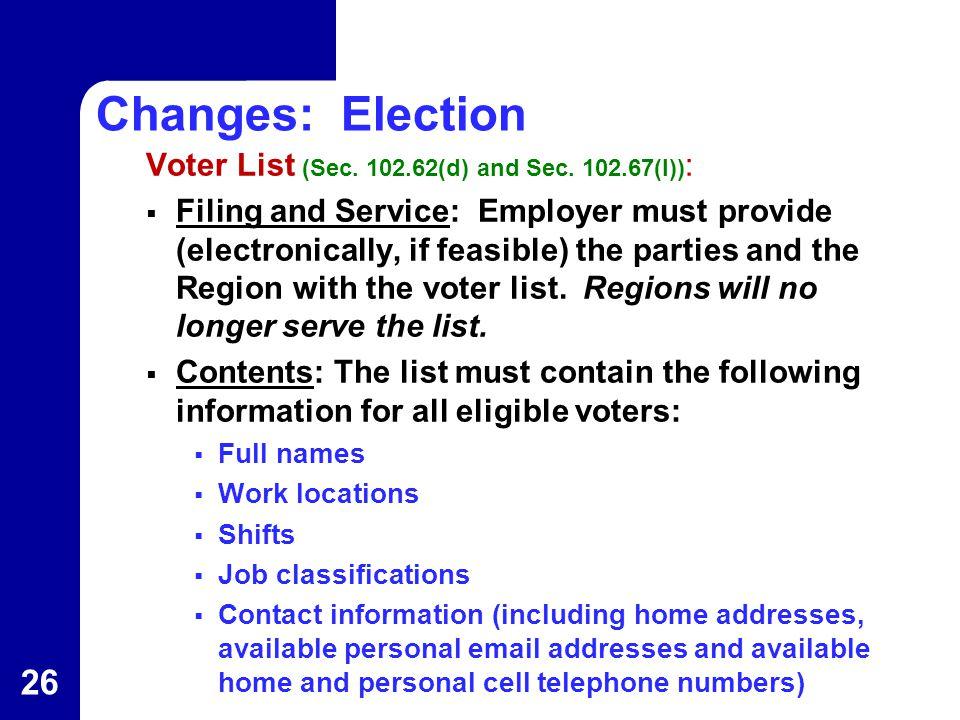 Changes: Election Voter List (Sec. 102.62(d) and Sec.