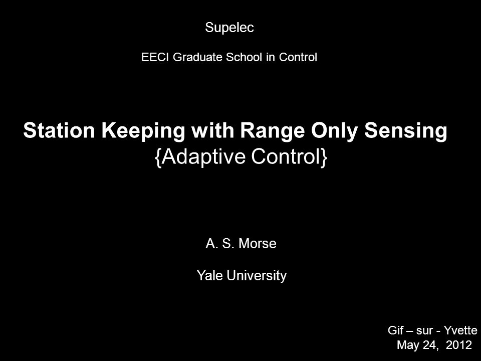 Station Keeping with Range Only Sensing {Adaptive Control} A.