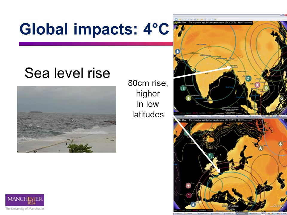 Global impacts: 4°C Sea level rise 80cm rise, higher in low latitudes