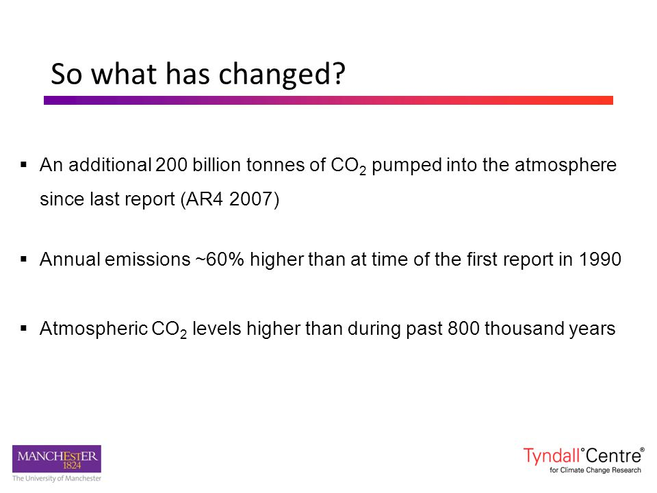 So what has changed?  An additional 200 billion tonnes of CO 2 pumped into the atmosphere since last report (AR4 2007)  Annual emissions ~60% higher