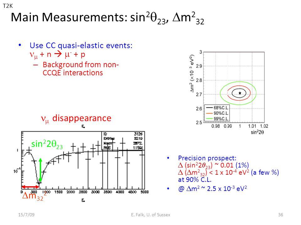 Main Measurements: sin 2  23,  m 2 32 Use CC quasi-elastic events:  + n   - + p – Background from non- CCQE interactions 15/7/09E.