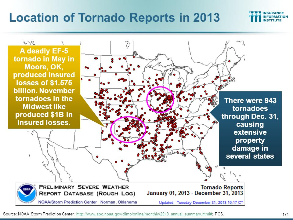 170 SEVERE WEATHER REPORT UPDATE: 2013 Damage from Tornadoes, Large Hail and High Winds Keep Insurers Busy 12/01/09 - 9pm 170