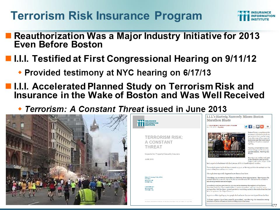 Terrorism Update 176 Down to the Wire? Boston Bombings Underscore the Need for Extension of the Terrorism Risk Insurance Program Download III's Terror