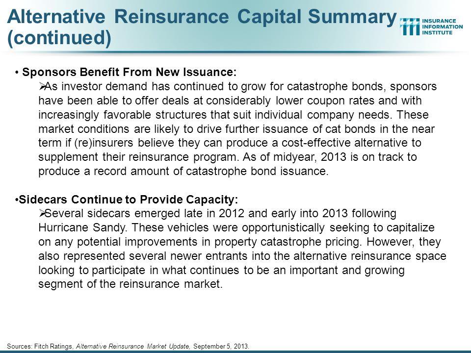 Alternative Reinsurance Capital Summary (continued) Sources: Fitch Ratings, Alternative Reinsurance Market Update, September 5, 2013. Strong Investor