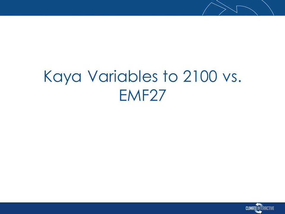 Kaya Variables to 2100 vs. EMF27
