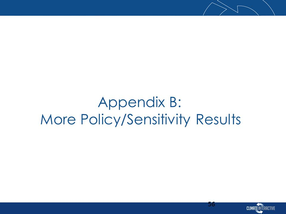 Appendix B: More Policy/Sensitivity Results 56