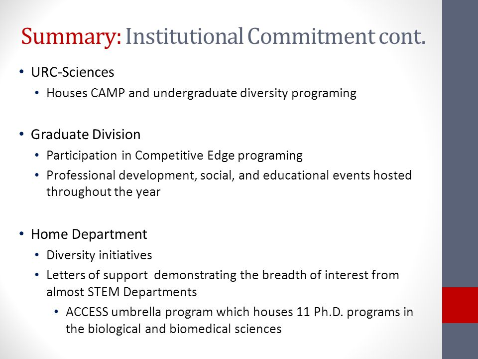 Summary: Institutional Commitment cont.