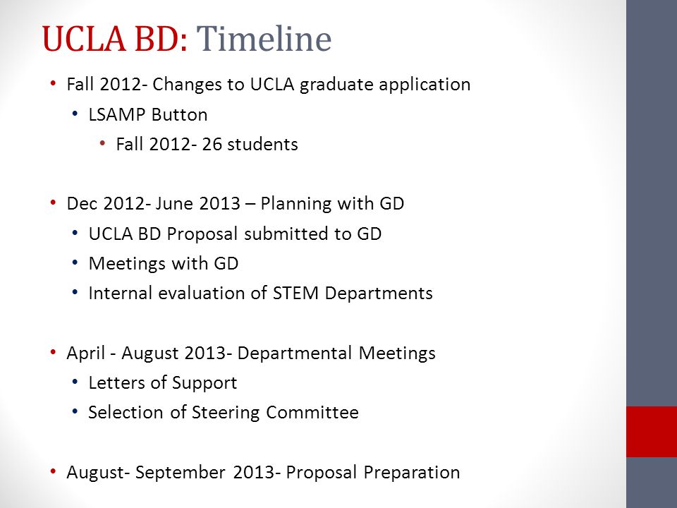 UCLA BD: Timeline Fall 2012- Changes to UCLA graduate application LSAMP Button Fall 2012- 26 students Dec 2012- June 2013 – Planning with GD UCLA BD Proposal submitted to GD Meetings with GD Internal evaluation of STEM Departments April - August 2013- Departmental Meetings Letters of Support Selection of Steering Committee August- September 2013- Proposal Preparation