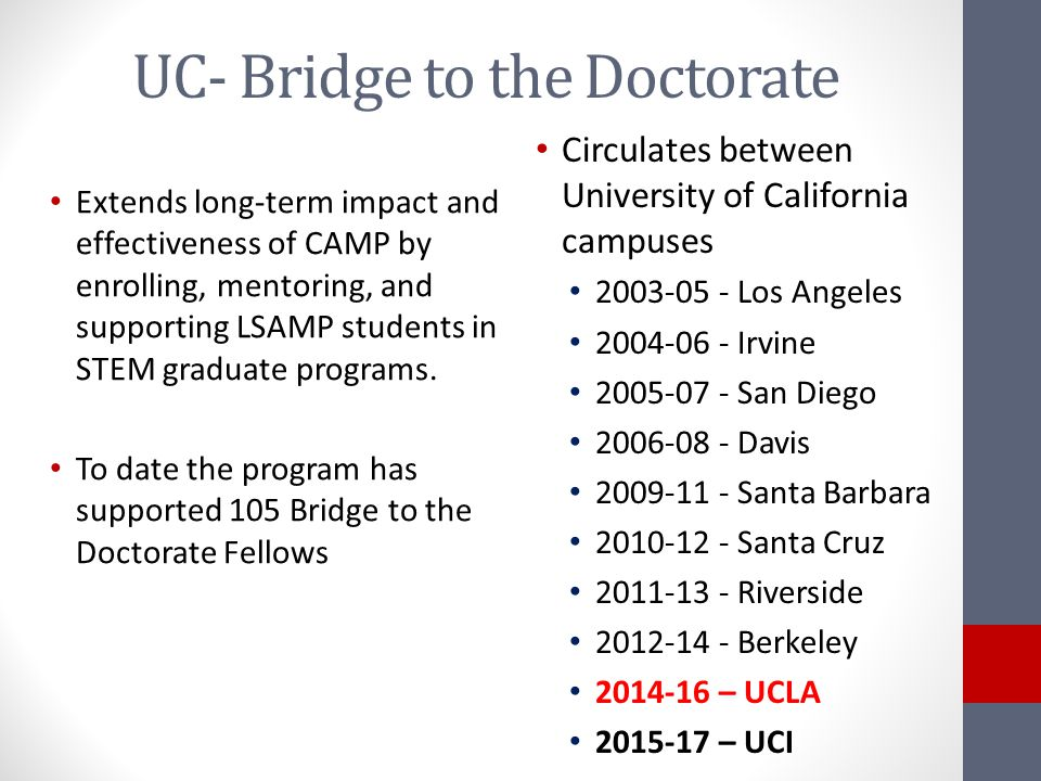 UC- Bridge to the Doctorate Extends long-term impact and effectiveness of CAMP by enrolling, mentoring, and supporting LSAMP students in STEM graduate programs.