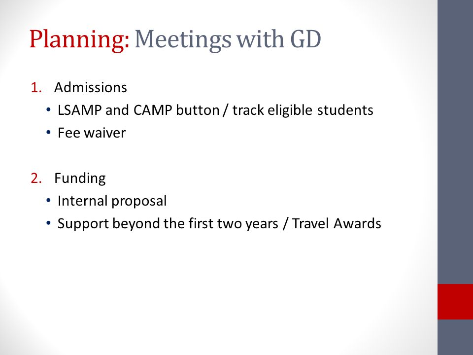 Planning: Meetings with GD 1.Admissions LSAMP and CAMP button / track eligible students Fee waiver 2.Funding Internal proposal Support beyond the first two years / Travel Awards