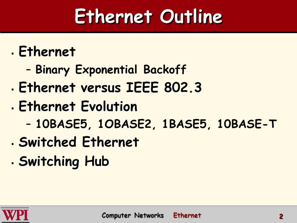 Ethernet Outline  Ethernet –Binary Exponential Backoff  Ethernet versus IEEE 802.3  Ethernet Evolution –10BASE5, 1OBASE2, 1BASE5, 10BASE-T  Switched Ethernet  Switching Hub Computer Networks Ethernet Computer Networks Ethernet 2