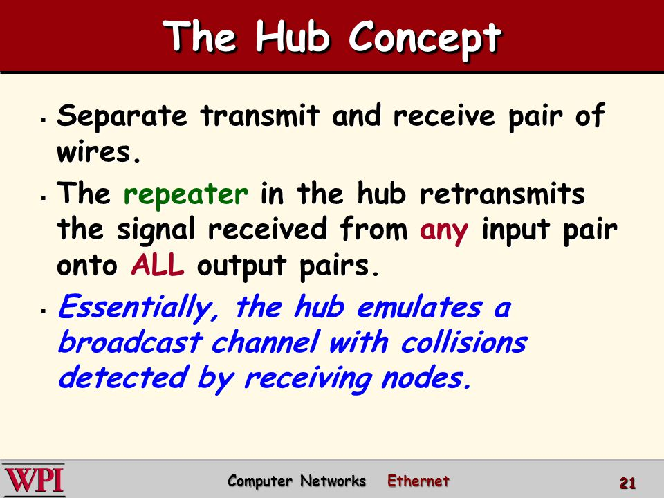 The Hub Concept  Separate transmit and receive pair of wires.