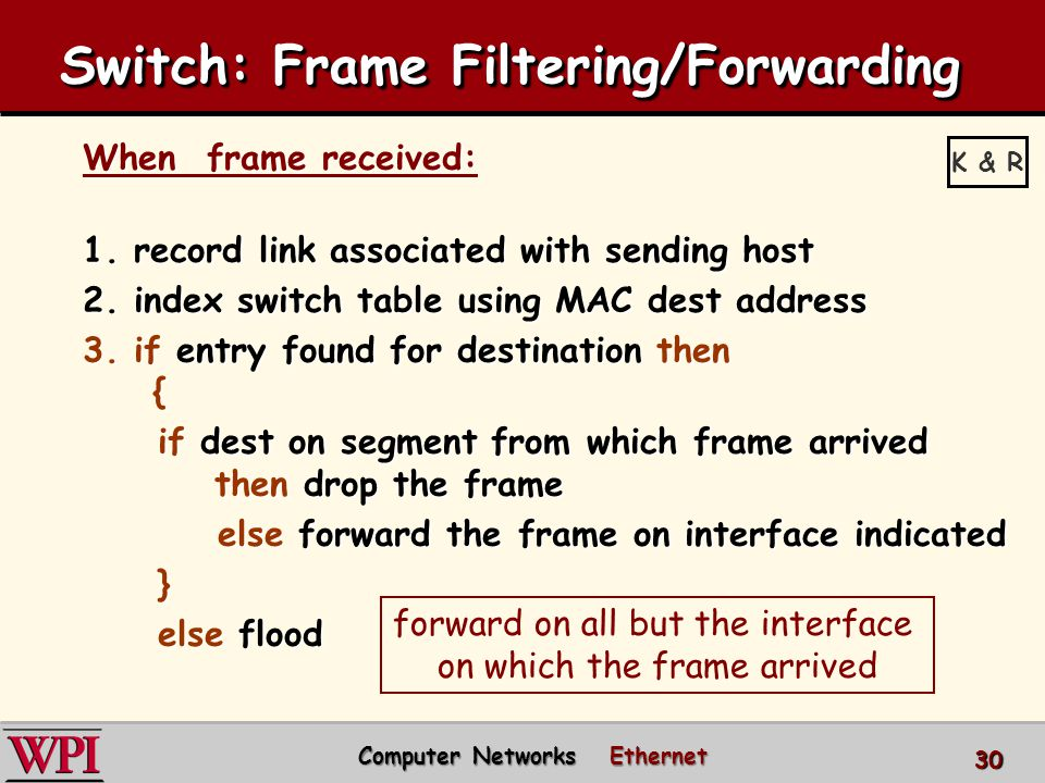 Switch: Frame Filtering/Forwarding When frame received: 1. record link associated with sending host 2. index switch table using MAC dest address 3. if
