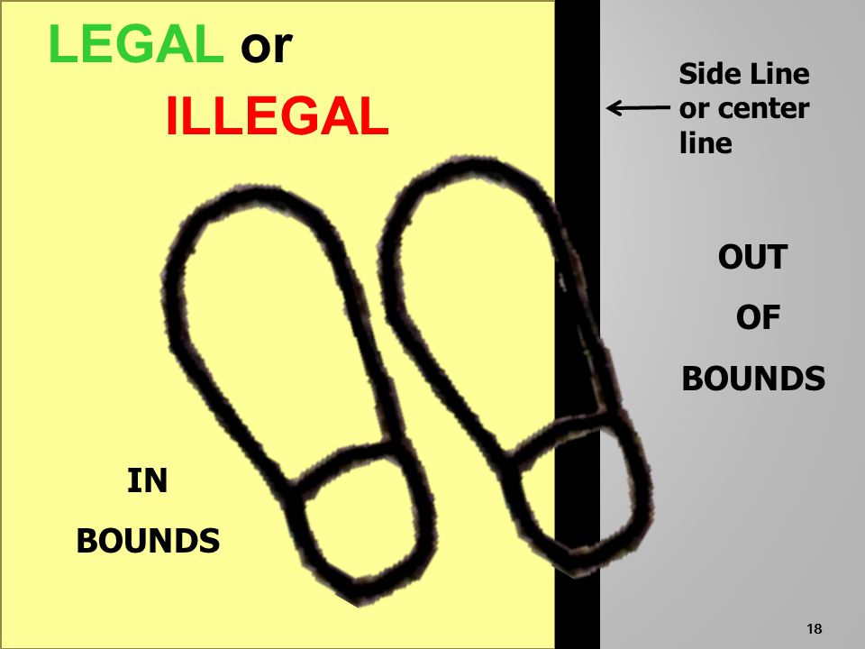 17 OUT OF BOUNDS LEGAL or ILLEGAL IN BOUNDS Side Line or center line