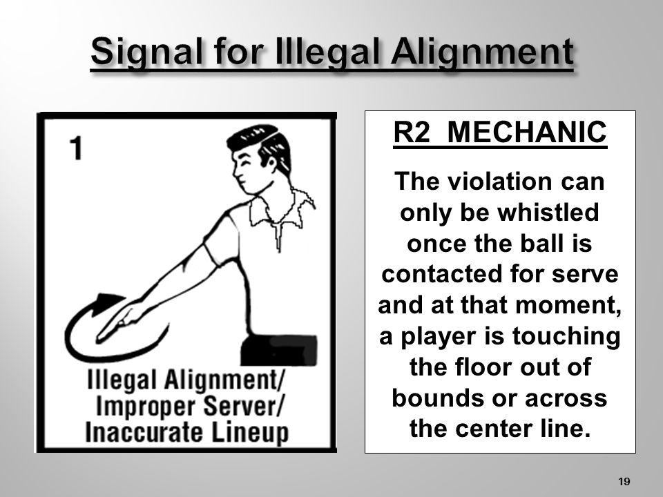 18 OUT OF BOUNDS LEGAL or ILLEGAL IN BOUNDS Side Line or center line