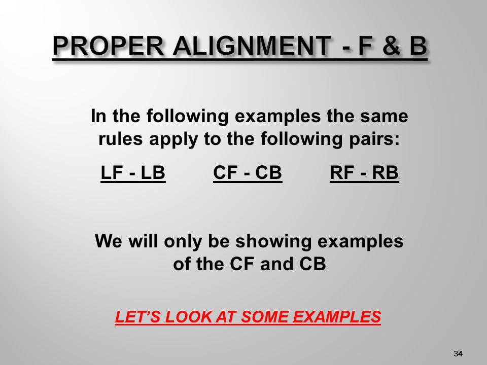 33 LF CF RF LB CBRB NET Front row players must have at least one foot in contact with the floor closer to the center line than their corresponding back row player.