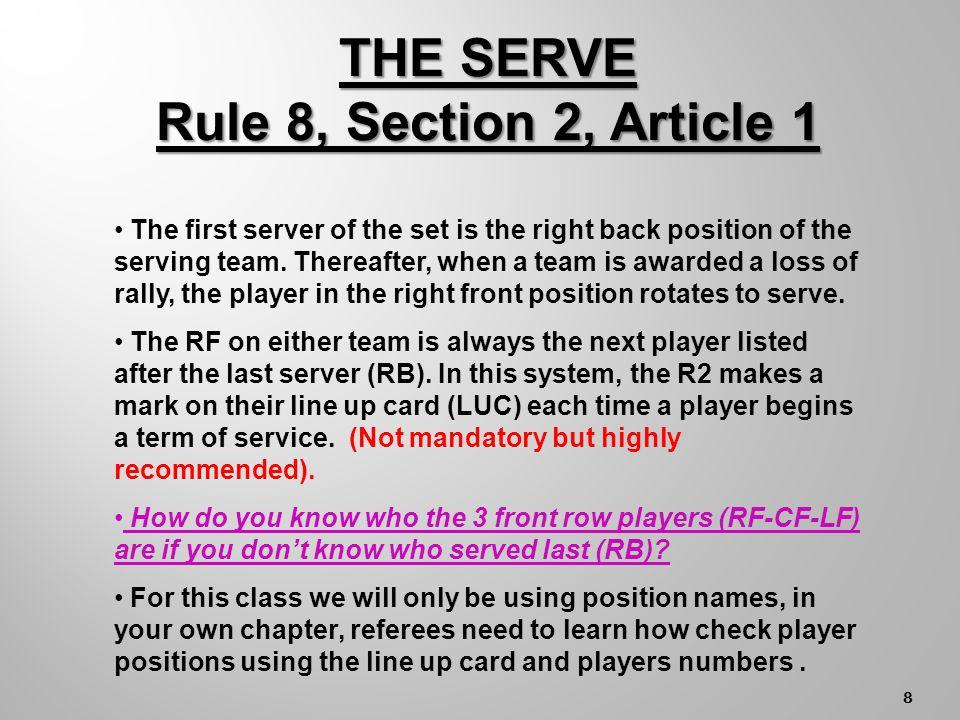 7 R2 LINE UP CARD I I V I I I V V I I 36c 16 8 50 26 12 SERVE ORDER PLAYER NO.