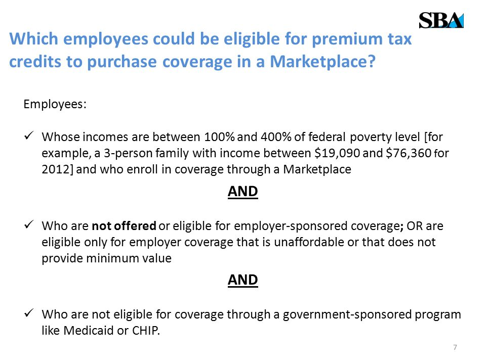 Which employees could be eligible for premium tax credits to purchase coverage in a Marketplace.