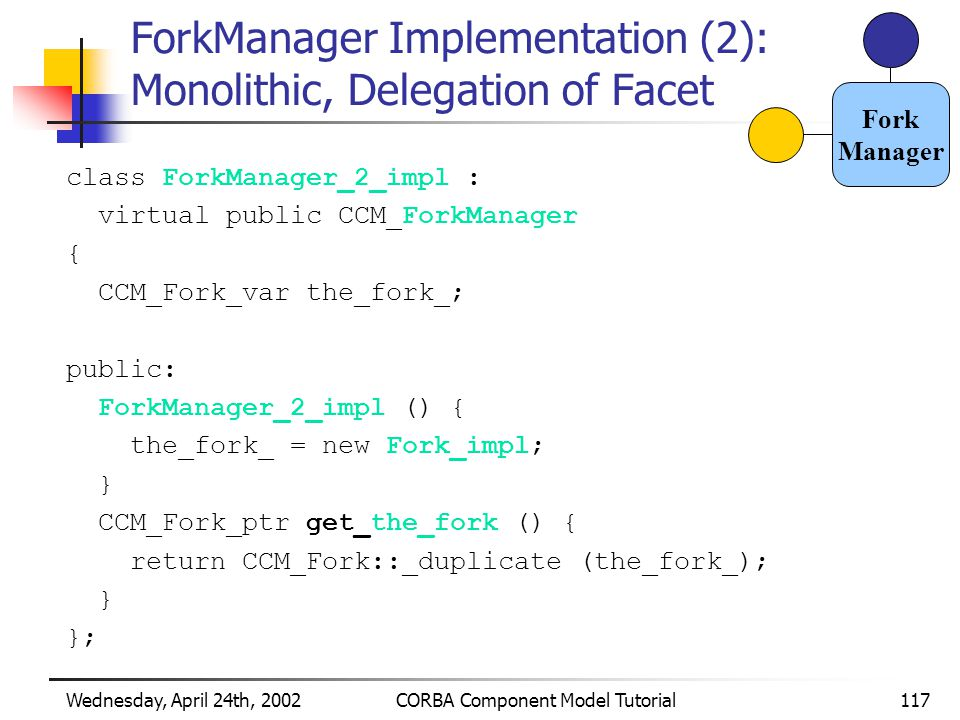 Wednesday, April 24th, 2002CORBA Component Model Tutorial117 ForkManager Implementation (2): Monolithic, Delegation of Facet class ForkManager_2_impl : virtual public CCM_ForkManager { CCM_Fork_var the_fork_; public: ForkManager_2_impl () { the_fork_ = new Fork_impl; } CCM_Fork_ptr get_the_fork () { return CCM_Fork::_duplicate (the_fork_); } }; Fork Manager