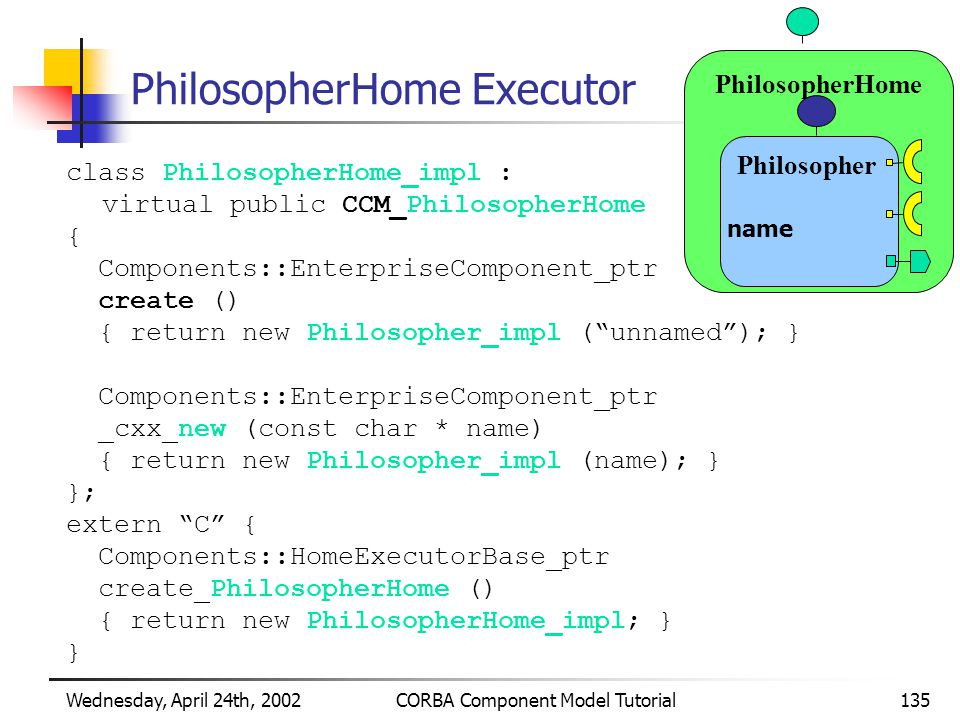 Wednesday, April 24th, 2002CORBA Component Model Tutorial135 PhilosopherHome Executor class PhilosopherHome_impl : virtual public CCM_PhilosopherHome { Components::EnterpriseComponent_ptr create () { return new Philosopher_impl ( unnamed ); } Components::EnterpriseComponent_ptr _cxx_new (const char * name) { return new Philosopher_impl (name); } }; extern C { Components::HomeExecutorBase_ptr create_PhilosopherHome () { return new PhilosopherHome_impl; } } PhilosopherHome Philosopher name