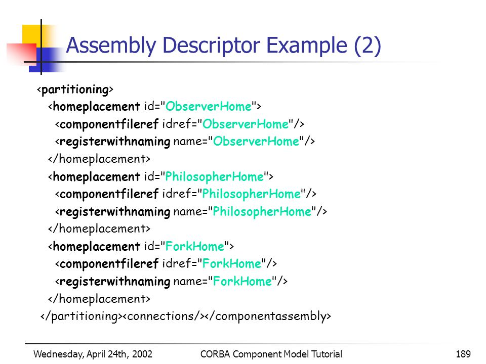 Wednesday, April 24th, 2002CORBA Component Model Tutorial189 Assembly Descriptor Example (2)