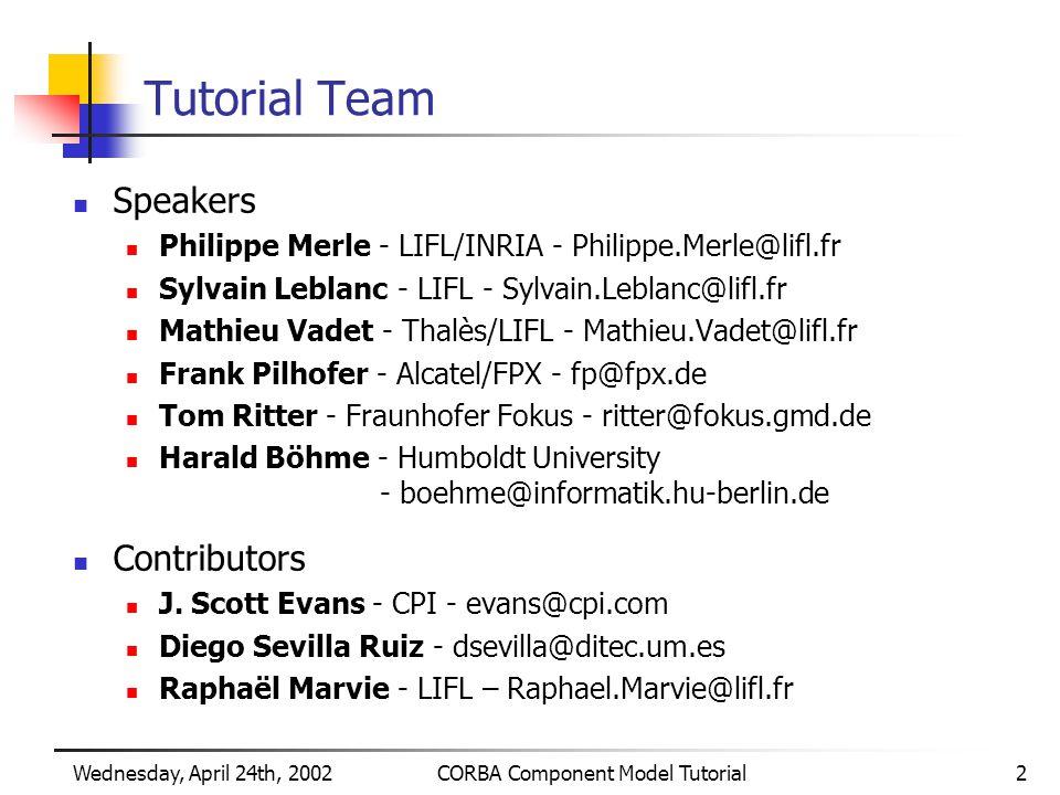 Wednesday, April 24th, 2002CORBA Component Model Tutorial2 Tutorial Team Speakers Philippe Merle - LIFL/INRIA - Philippe.Merle@lifl.fr Sylvain Leblanc - LIFL - Sylvain.Leblanc@lifl.fr Mathieu Vadet - Thalès/LIFL - Mathieu.Vadet@lifl.fr Frank Pilhofer - Alcatel/FPX - fp@fpx.de Tom Ritter - Fraunhofer Fokus - ritter@fokus.gmd.de Harald Böhme - Humboldt University - boehme@informatik.hu-berlin.de Contributors J.