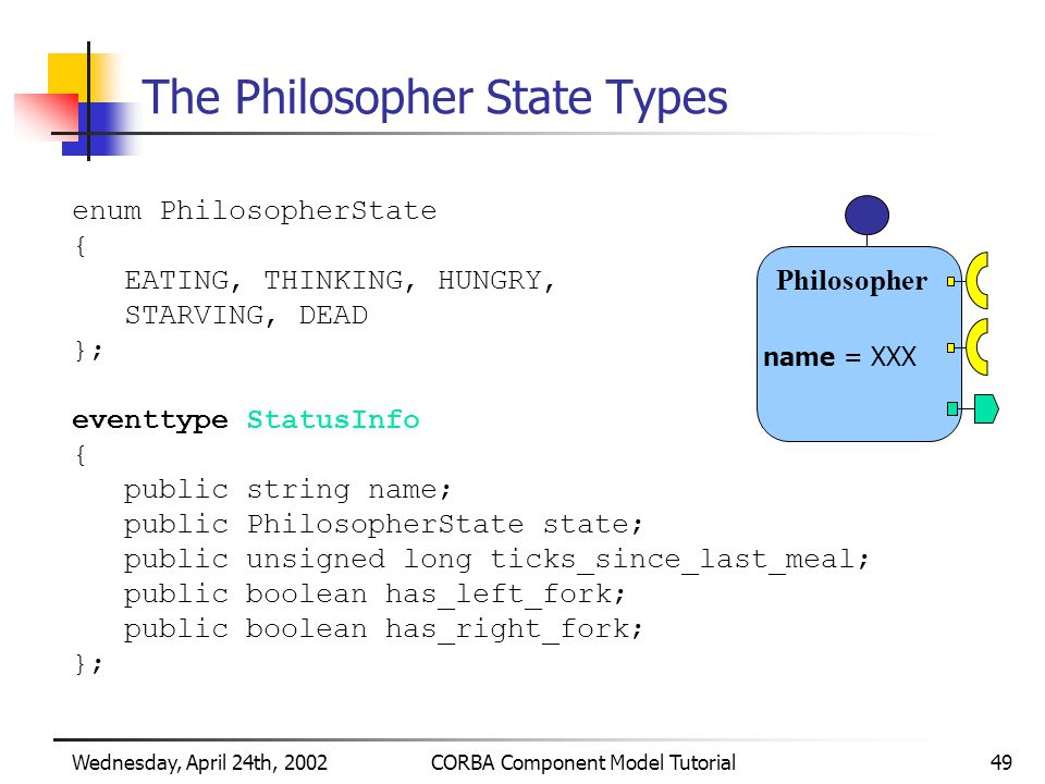 Wednesday, April 24th, 2002CORBA Component Model Tutorial49 The Philosopher State Types enum PhilosopherState { EATING, THINKING, HUNGRY, STARVING, DEAD }; eventtype StatusInfo { public string name; public PhilosopherState state; public unsigned long ticks_since_last_meal; public boolean has_left_fork; public boolean has_right_fork; }; Philosopher name = XXX