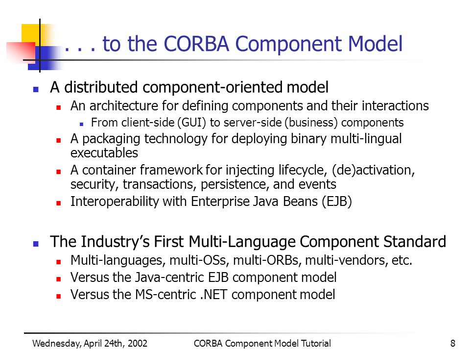 Wednesday, April 24th, 2002CORBA Component Model Tutorial8...