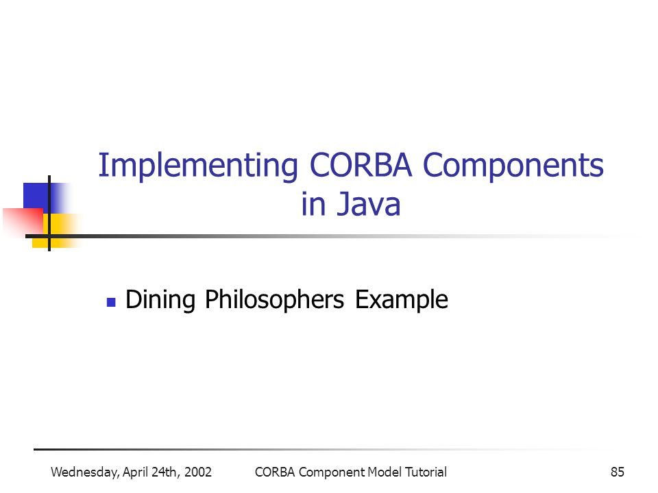 Wednesday, April 24th, 2002CORBA Component Model Tutorial85 Implementing CORBA Components in Java Dining Philosophers Example