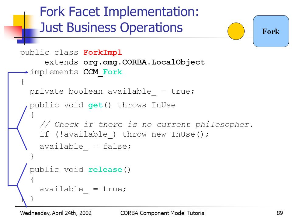 Wednesday, April 24th, 2002CORBA Component Model Tutorial89 Fork Facet Implementation: Just Business Operations public class ForkImpl extends org.omg.CORBA.LocalObject implements CCM_Fork { private boolean available_ = true; public void get() throws InUse { // Check if there is no current philosopher.
