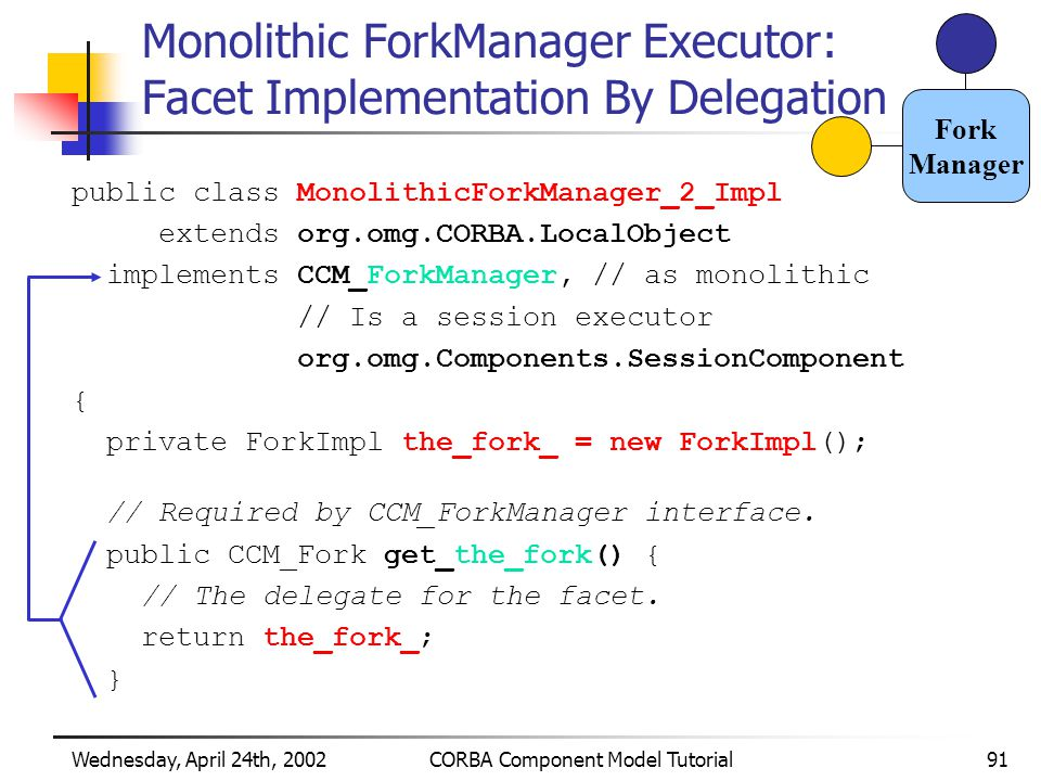 Wednesday, April 24th, 2002CORBA Component Model Tutorial91 Monolithic ForkManager Executor: Facet Implementation By Delegation public class MonolithicForkManager_2_Impl extends org.omg.CORBA.LocalObject implements CCM_ForkManager, // as monolithic // Is a session executor org.omg.Components.SessionComponent { private ForkImpl the_fork_ = new ForkImpl(); // Required by CCM_ForkManager interface.