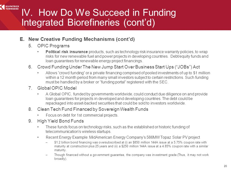 E.New Creative Funding Mechanisms (cont'd) 5.OPIC Programs Political risk insurance products, such as technology risk insurance warranty policies, to wrap risks for new renewable fuel and power projects in developing countries.