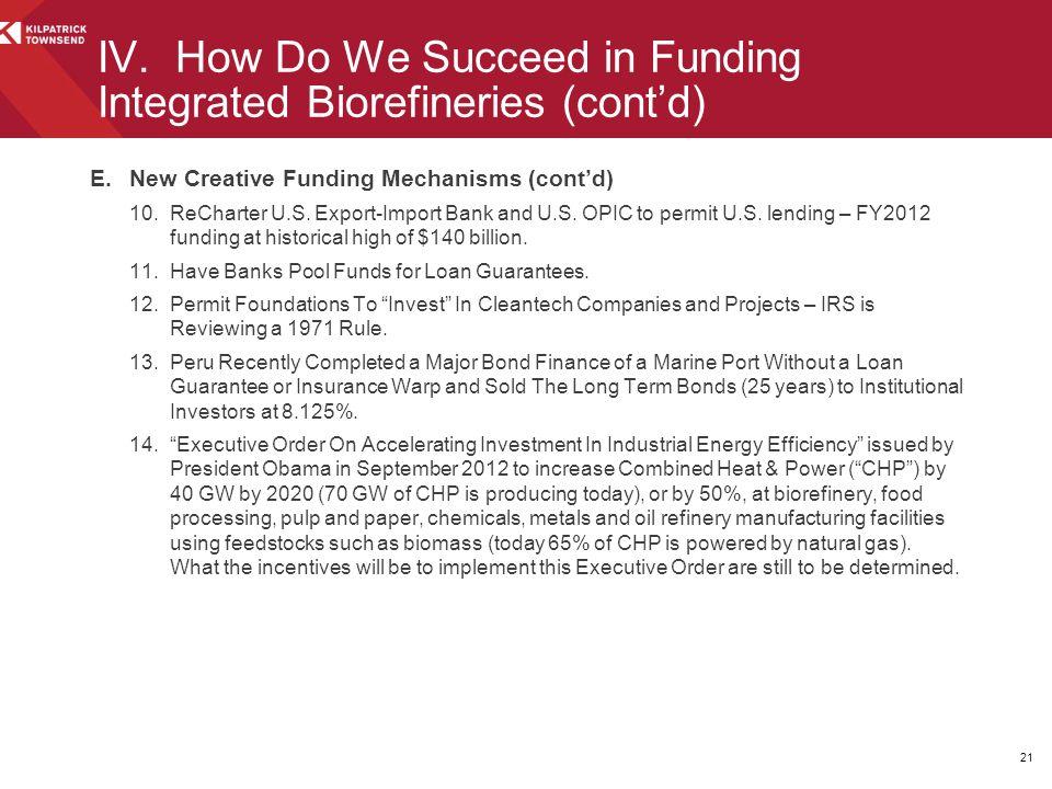 E.New Creative Funding Mechanisms (cont'd) 10.ReCharter U.S.