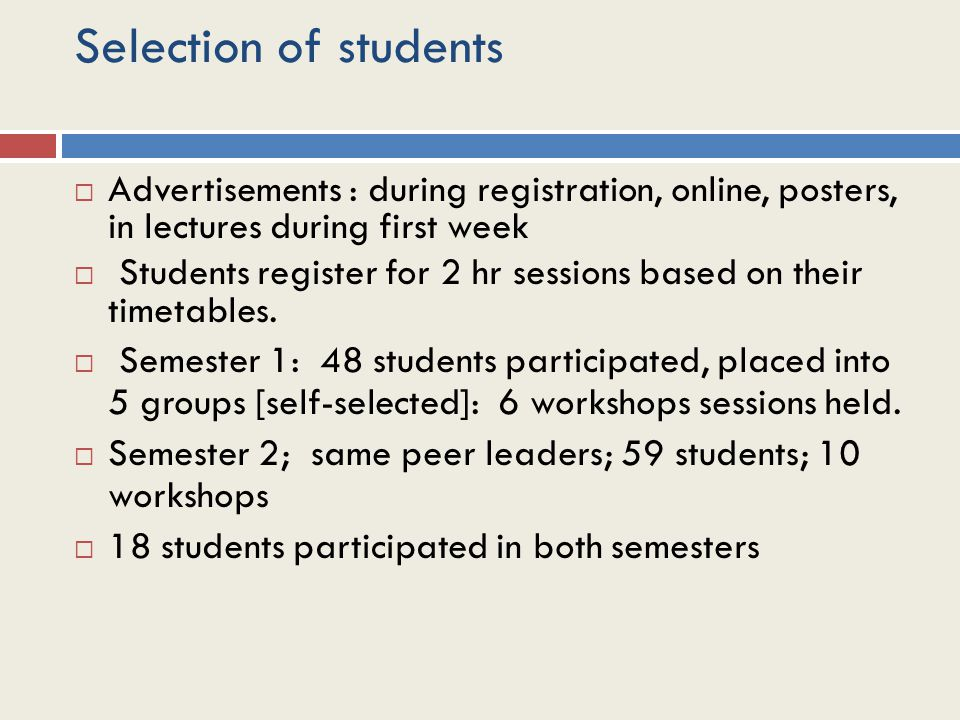 Selection of students  Advertisements : during registration, online, posters, in lectures during first week  Students register for 2 hr sessions based on their timetables.