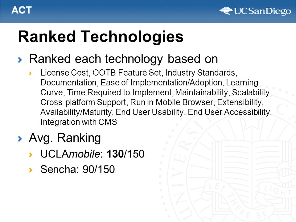 Ranked Technologies Ranked each technology based on License Cost, OOTB Feature Set, Industry Standards, Documentation, Ease of Implementation/Adoption, Learning Curve, Time Required to Implement, Maintainability, Scalability, Cross-platform Support, Run in Mobile Browser, Extensibility, Availability/Maturity, End User Usability, End User Accessibility, Integration with CMS Avg.