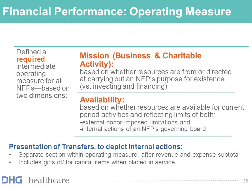 26 Financial Performance: Operating Measure Defined a required intermediate operating measure for all NFPs—based on two dimensions: Mission (Business