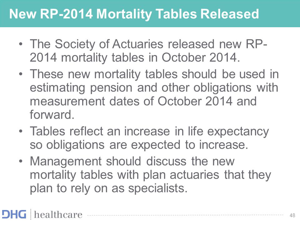 48 New RP-2014 Mortality Tables Released The Society of Actuaries released new RP- 2014 mortality tables in October 2014. These new mortality tables s