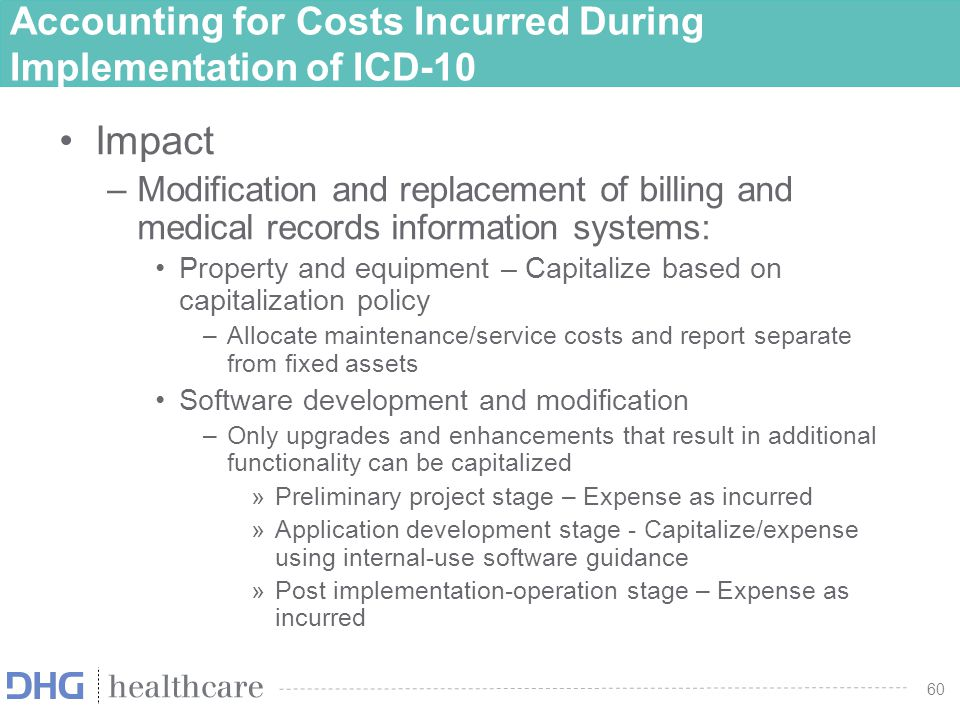 60 Accounting for Costs Incurred During Implementation of ICD-10 Impact –Modification and replacement of billing and medical records information syste
