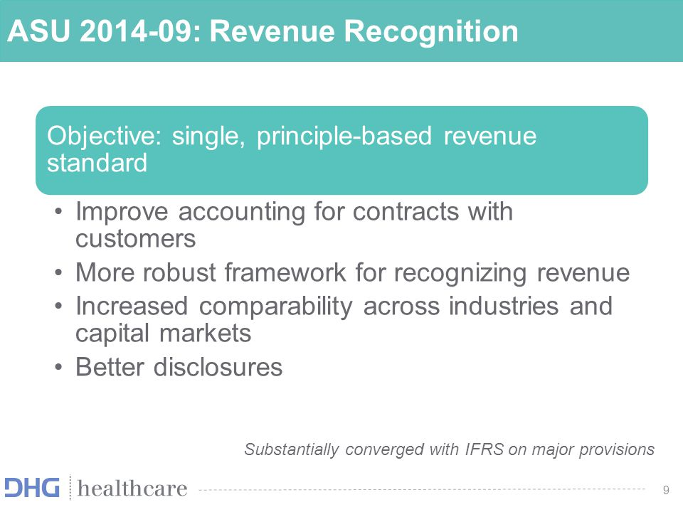 9 ASU 2014-09: Revenue Recognition Objective: single, principle-based revenue standard Improve accounting for contracts with customers More robust fra
