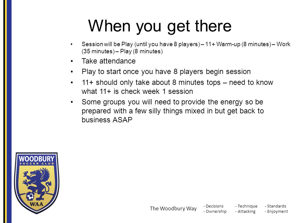 - Decisions - Ownership - Standards - Enjoyment - Technique - Attacking The Woodbury Way When you get there Session will be Play (until you have 8 pla