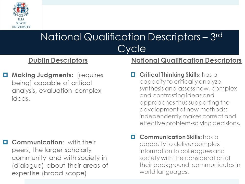 National Qualification Descriptors – 3 rd Cycle Dublin Descriptors  Making Judgments: [requires being] capable of critical analysis, evaluation compl
